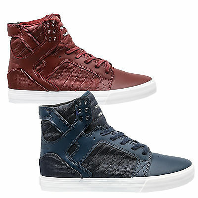 Supra Mens Sky Top Lace Up Active Gym Lo Tops Navy Burgundy Trainers