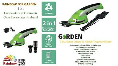Cordless 2 in1 Grass Cutter & Hedge Trimmer Hand Held Shear 6v for Garden