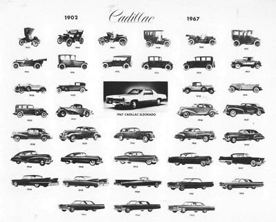 1902 - 1967 Cadillac History ORIGINAL Multiview Factory Photo oub6013