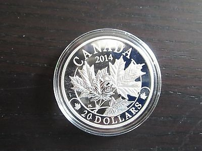 2014 - Canadian Majestic Maple Leaves .9999 Fine Silver $20 Coin