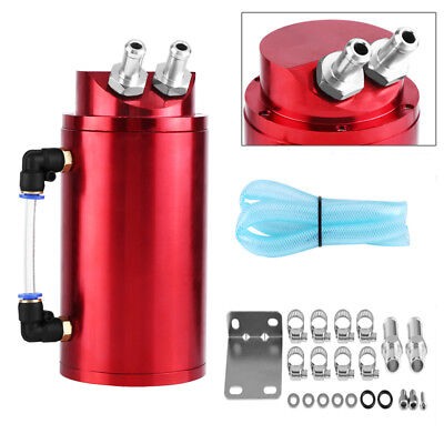 Universal Car Aluminium Round Oil Catch Tank Breather Can 10/15Mm Fittings Wang