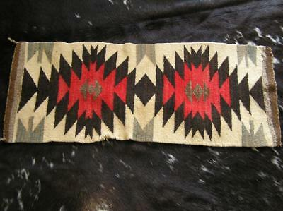 "Antique Handwoven Wool Runner Geometric Design from Trading Post 14"" x 36"""