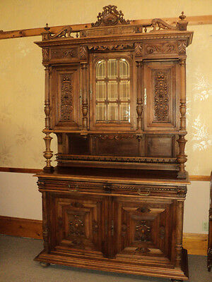 Antique Walnut Court China Cabinet Sideboard Bar from Belgium