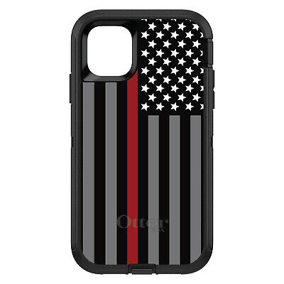OtterBox Defender for iPhone 7 8 PLUS X XS Max XR Thin Red Line Flag Fire Rescue