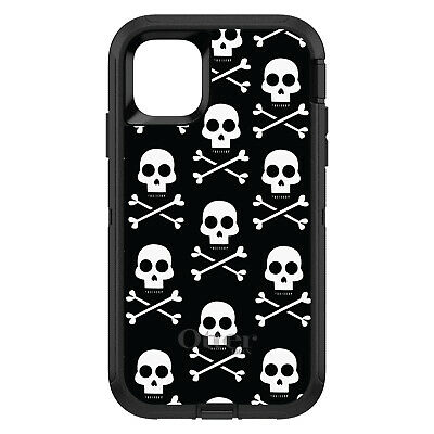 OtterBox Defender for iPhone 7 8 PLUS X XS Max XR Black White Skulls Pattern