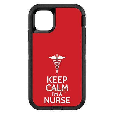 "OtterBox Defender for iPhone 7 8 PLUS X XS Max XR Red ""Keep Calm I'm a Nurse"""