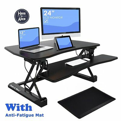 "Hans&Alice™ 36"" Wide Height Adjustable Sit Stand Desk Riser Stand Up Office Desk"