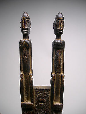 AUTHENTIC ~ Superb LARGE DOGON DOOR LOCK on Mount ~ NOMMO COUPLE