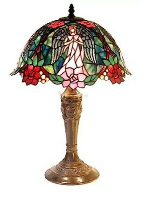 Floral Angel Tiffany Style Stained Glass Lamp Table Desk Light Red Pink Copper