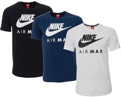 New Men's Nike Air Max Logo Sports T-Shirt Top - White Black Blue