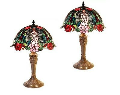 Floral Angel Tiffany Style Stained Glass Lamp Set of Two (2) Table Desk Light