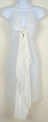Cover Me Gently One Size Beach Cover Up White Asymmetrical Tie Front Poly Cotton