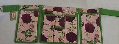 Garden Belt Roses Script Print Canvas 6 Pockets Holds Tools Supplies by Maggi B