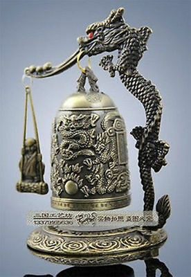 Exquisite handmade Tibet Bronze style Carved Dragon & buddha Bell with box NE