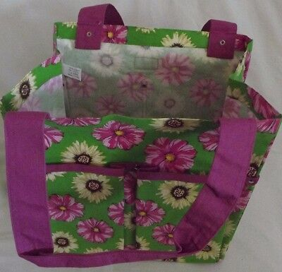 Garden Tote Daisies Print Canvas Bag Holds Tools & Supplies 6 Pockets by Maggi B