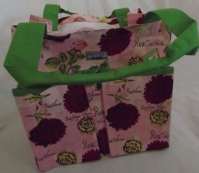 Garden Tote Roses Print Canvas Bag Holds Tools & Supplies 6 Pockets by Maggi B
