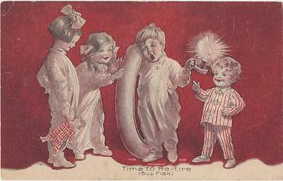 """1920's Fisk Tire """"Time to Retire"""" Advertising Post Card"""