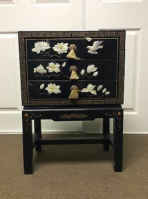 chinese furniture, hand painted, stone inlaid wooden lacquered cabinet, 3 drawer
