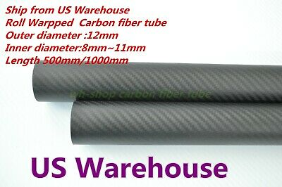 OD 12mm X ID 8mm 3K Roll Wrapped Carbon Fiber Tubing parts for RC Model 12*8 H