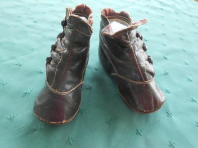 Baby Shoes, Black Leather With Buttons In Very Good Condition, Vintage 1900
