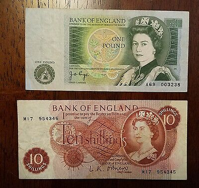 LOT of 2 Vintage Bank of England Paper Money - Ten Shillings & One Pound