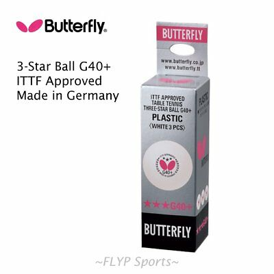 Butterfly Table Tennis Balls Plastic 3 Star G40+ White Germany Ping Pong ITTF...