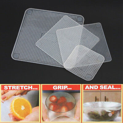 Kitchen Tool Silicone Wraps Seal Cover Stretch Cling Film Food Fresh To Keep 4PC