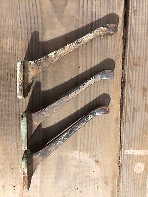 Vintage Salvaged Industrial Genuine Reclaimed Cast Iron Coat Hooks X 3 Steampunk