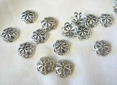 20 Antique Silver Coloured 14mm Flower Bead Caps #bc3765 Jewellery Making Craft