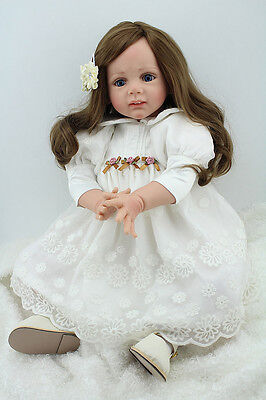 24'' Reborn Toddler Baby Dolls Soft Silicone Vinyl Hair Doll Classic Kids gifts