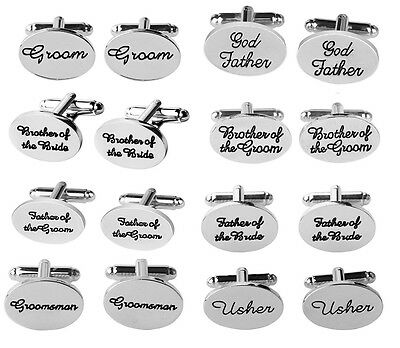 Wedding Cufflinks Silver Steel Groom groomsman gift Men's vintage Oval Cuff Link