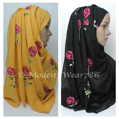 Maxi Cotton Polyester Rose Floral Embroidery Hijab Scarf Wrap Muslim Headcover