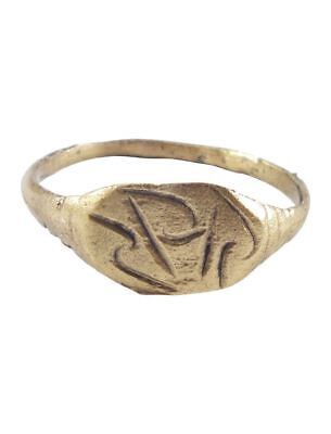 ANCIENT VIKING RUNIC RING C.850-1050 AD Size 8. 18.3mm (JNS366)