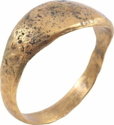 ANCIENT VIKING SOLID BAND RING C.850-1050 A.D. Size 11 1/2 (JF36)