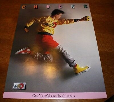 Converse Chuck Taylor GET YOUR YUCKS IN CHUCKS 17 X 23 in 1987 Vintage Poster