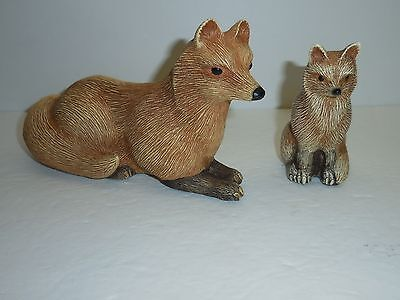 Artist Signed 1985 Vixen Fox & Baby Cub Figurine Resin w/Plaster Cement Filled