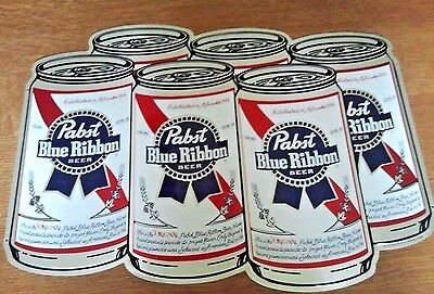 Vintage Pabst Blue Ribbon 6 Pack Metal Beer Sign New Old Stock Nos! Nice Nr!