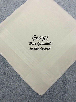 PERSONALISED HANKIE  HANDKERCHIEF BEST GRANDAD IN THE WORLD EMBROIDERED MSG gift