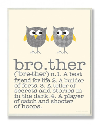Stupell Home Décor Definition Of Brother With Two Grey Owls Rectangle Wall Plaqu