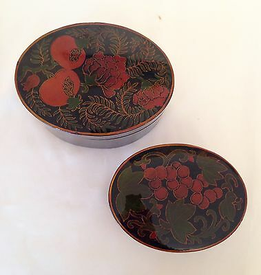 Oriental Chinese Black Lacquered  Boxes Set Of 2 Lacquer Boxes
