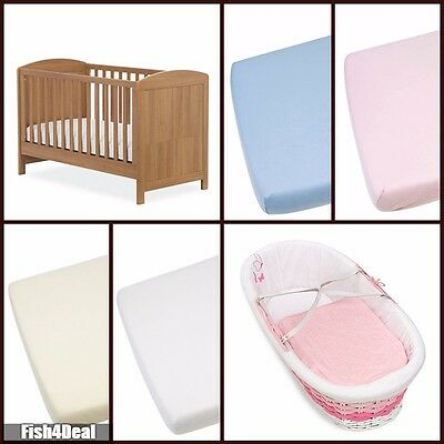 Junior Bed-Moses Basket - Cot - Cot Bed -  100% Cotton Soft Jersey Fitted Sheets