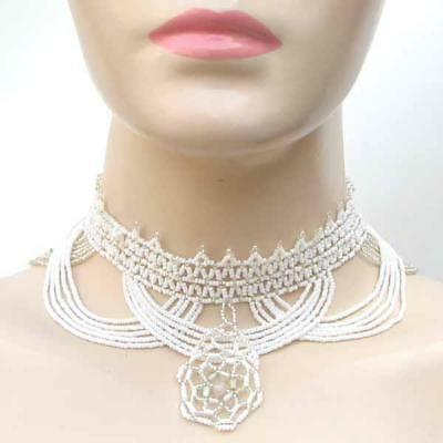 White & Crystal Beaded Choker Necklace