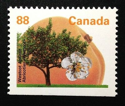 Canada #1373as Bottom PP GT4 13.1 MNH, Westcot Apricot Tree Booklet Stamp 1994