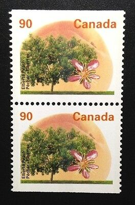 Canada #1374as PP GT3 13.1 MNH, Elberta Peach Tree Booklet Pair of Stamps 1995