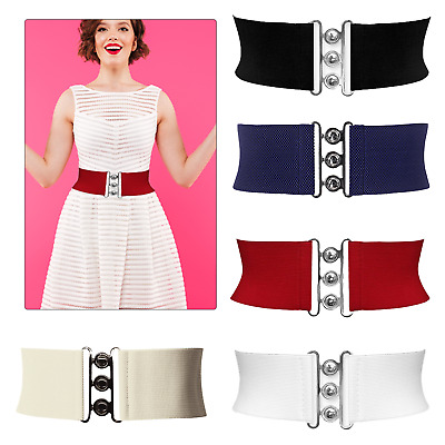Ladies Girls Waist Elasticated Wide Fashion Buckle Belts Belt Elastic Cat Walk