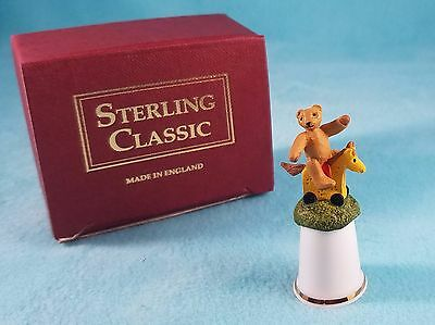 STERLING CLASSIC - Teddy Bear with Horse - Thimble BOX New RARE
