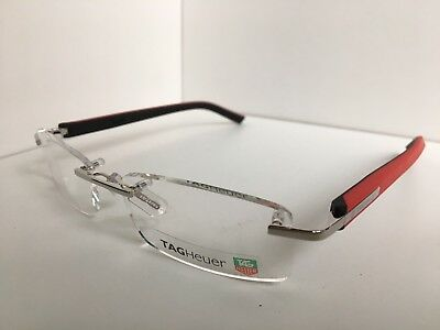 c501a812a7d New TAG Heuer TH 8108 005 54mm Red Black Eyeglasses Rimless Frame France
