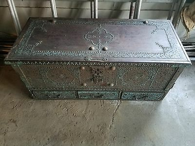 Antique Middle Eastern Wedding Chest 19th Century Asian Bridal trunk collectible