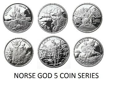5-1 Oz Silver Coins *complete Norse God Series* Odin-Thor-Hel-Freya-Loki-Boxed