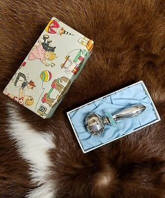 Vintage Sterling Silver Baby Rattle Vtg Jingle Toy with Box